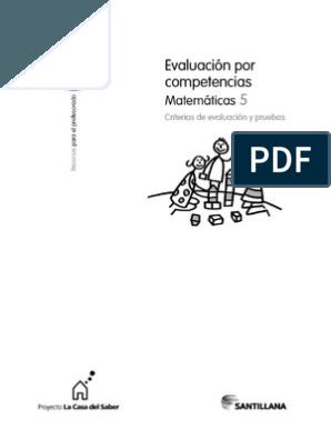 6 Matematicas Saber Hacer Evaluacion Contenidos 2015 Matematicas Evaluacion Por Competencias Evaluacion