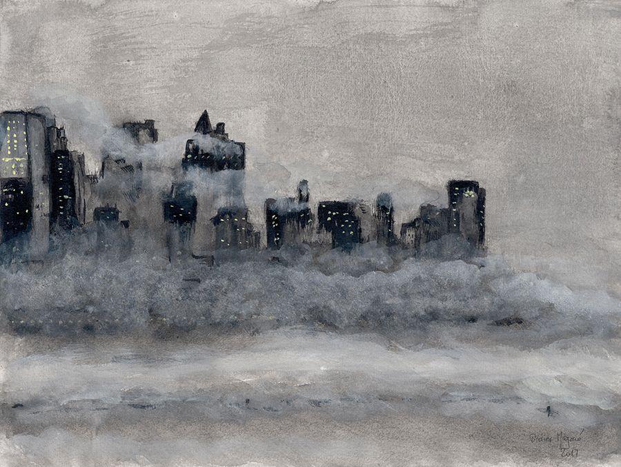 Gratte Ciel De New York Dans Le Brouillard Encre De Chine Lavis