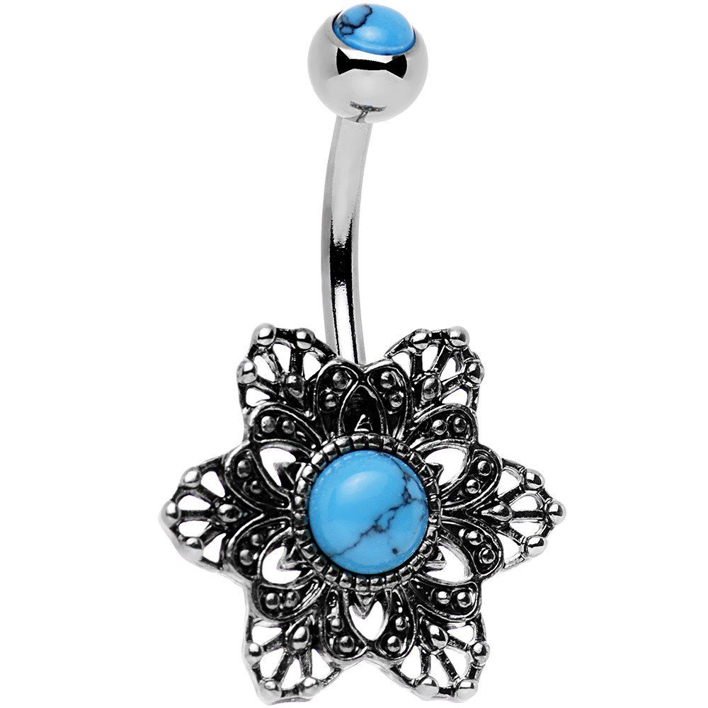 Belly button piercing names  Synthetic Turquoise Center Framework Flower Belly Ring  Turquoise