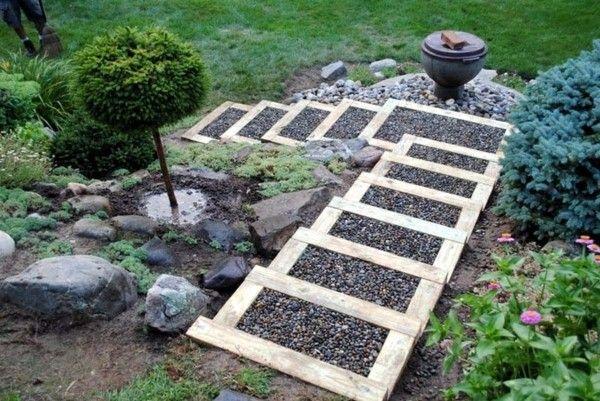 ideen für gartentreppe selber bauen mit kies und holzrahmen, Gartenarbeit ideen