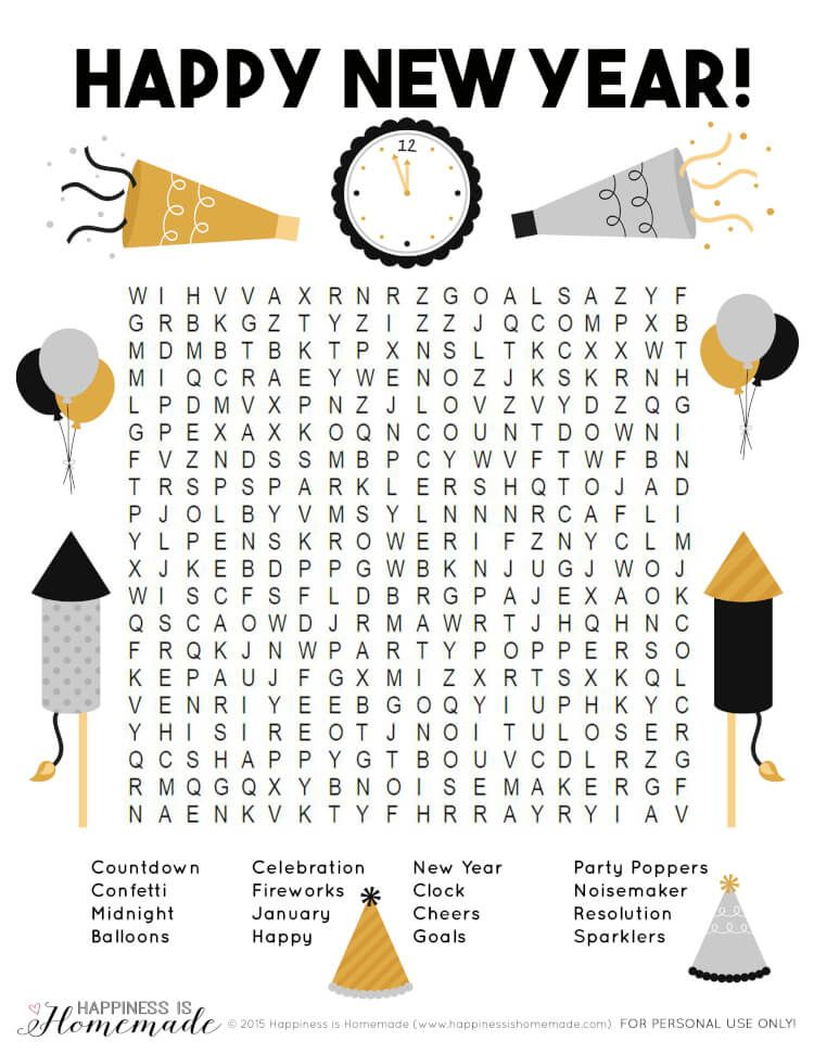 New Year Word Search New year's eve activities, New year