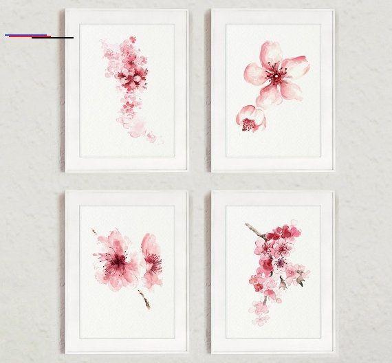 Kirschblute Blumen Set Von 4 Aquarell Drucke Rosa Home Decor