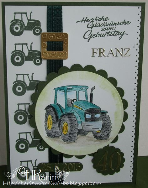 Karins Kreativstube Geburtstag Traktor Grun Greeting Cards