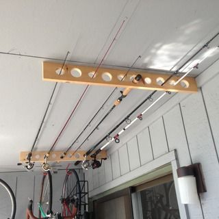 Fishing Pole Storage - Great for Apartment, Shed or Garage! #garageideasstorage