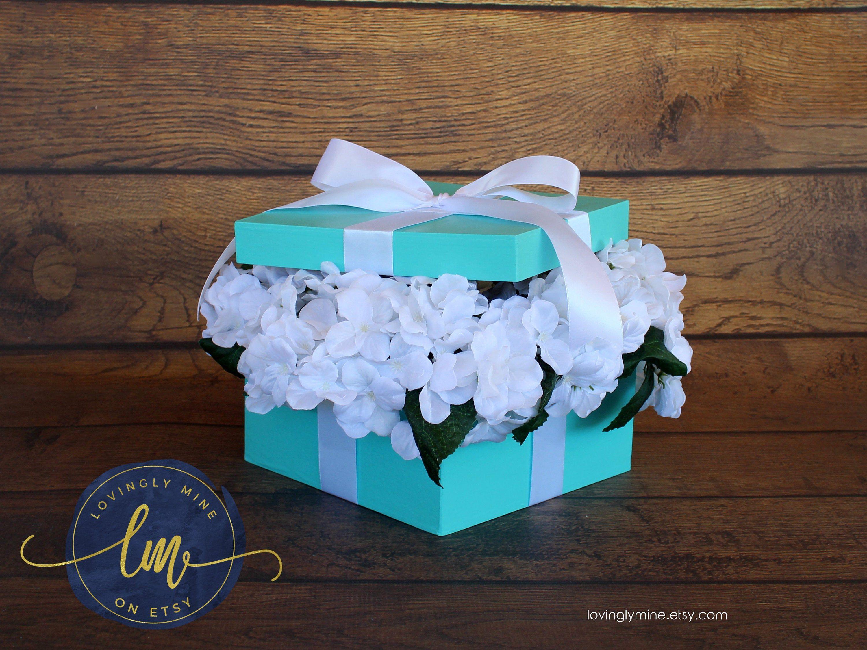 Centerpiece Box with White Silk Hydrangeas Flowers - Baby Shower Bridal Shower Wedding Sweet Sixteen Birthday Centerpiece