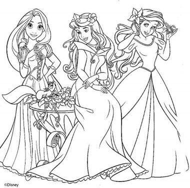 Dibujos Para Colorear De Princesas Disney Ariel Y Rapunzel Con