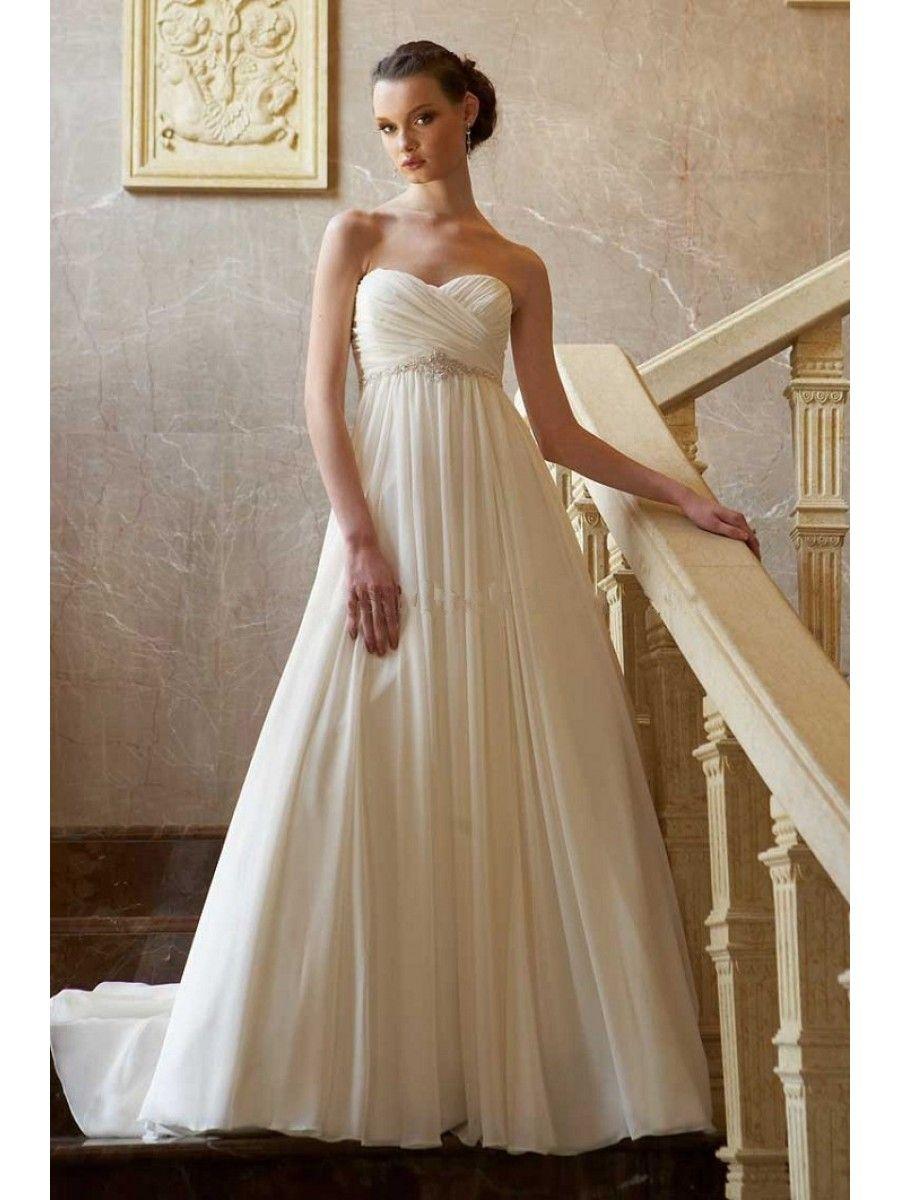 ivory-chiffon-wedding-dress | Pregnant