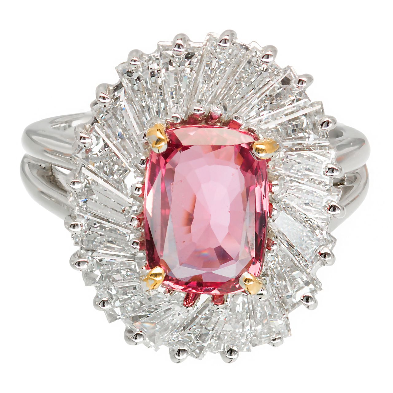 Estate GIA Natural Cushion Pink Sapphire Ring Platinum Baguette ...