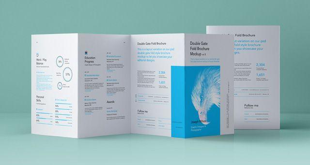 Psd Double Gate Fold Brochure Vol Psd Mock Up Templates Pixeden - Double gate fold brochure template