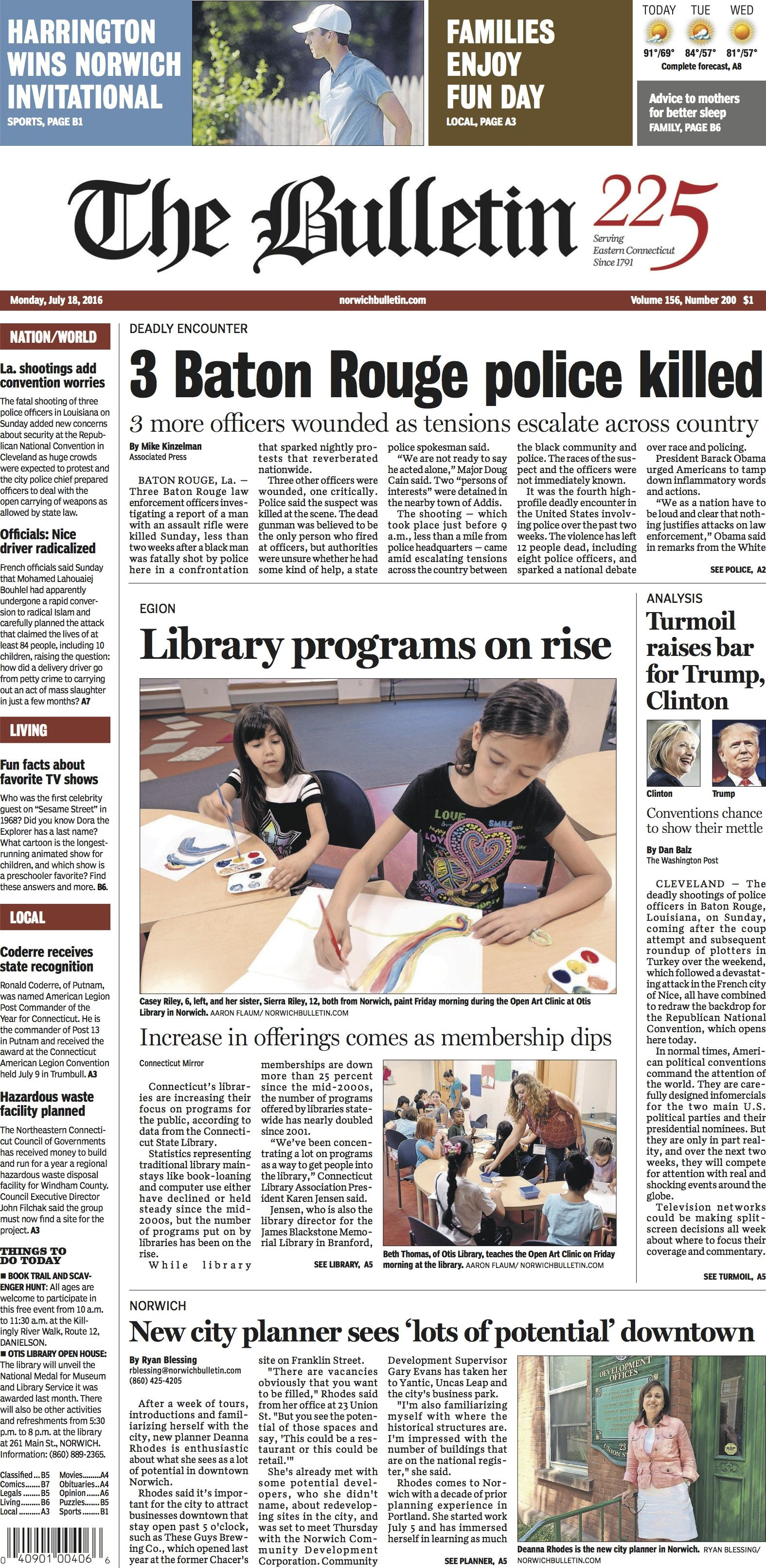 Pin By The Bulletin On The Bulletin Front Pages Baton Rouge Police Library Programs July 18th