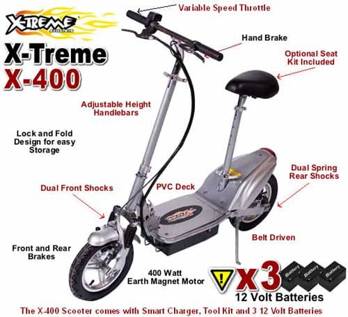 X-Treme X-400 Electric Scooter, 400 Watt Earth Magnet Electric Motor,