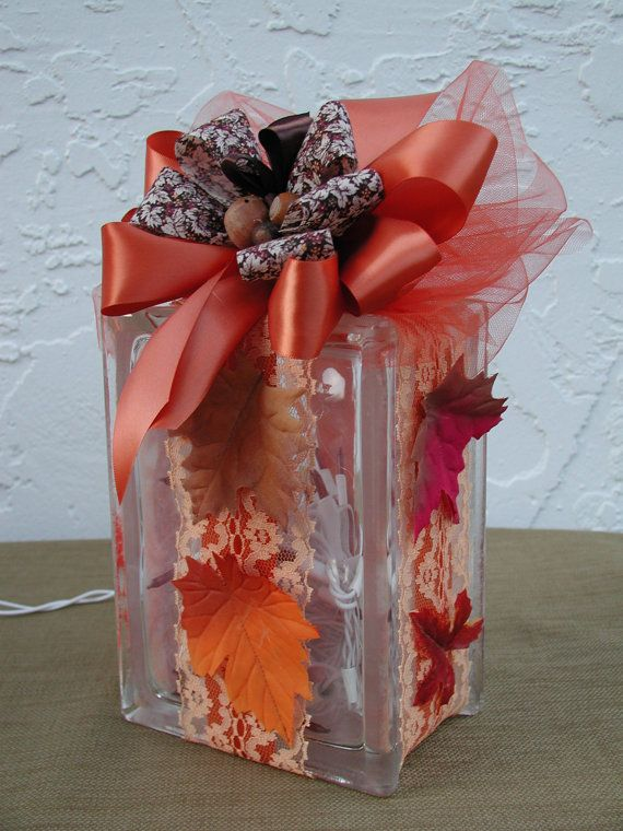 BOWS, Removable Velcro Bows for Tall Style Rectangle Glass Blocks, Autumn Leafs and Lace or Christmas Traditional Plaid