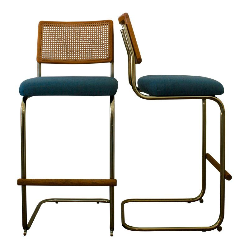 Groovy Cane Brass And Teal Upholstered Cantilever Barstools A Gmtry Best Dining Table And Chair Ideas Images Gmtryco