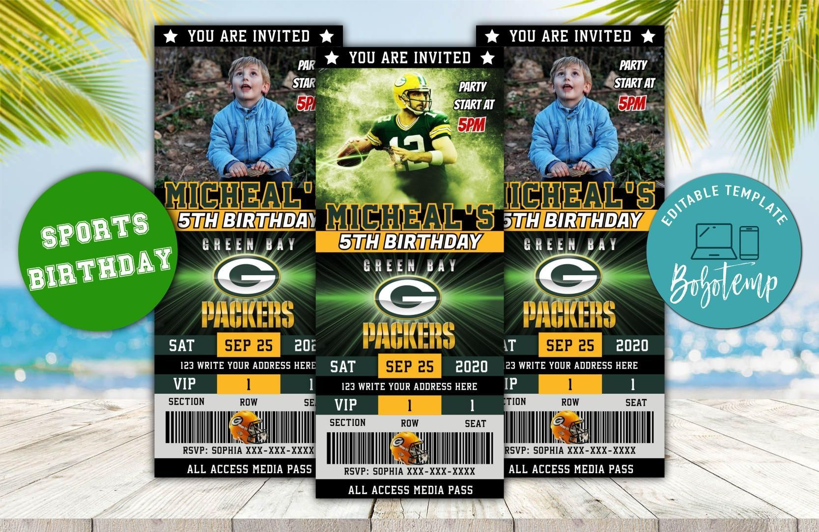 Printable Green Bay Packers Ticket Birthday Invitation Diy Green Bay Packers Birthday Invitation Green Bay Packers Party Invites Trong 2020