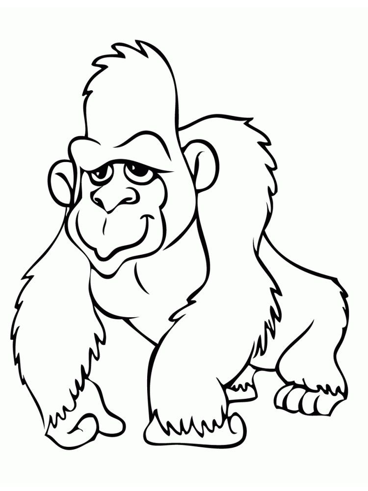 Happy Gorilla Coloring Pages The Gorilla Is The Second Species After The Chimpanzee Is Closest To Animal Coloring Pages Cartoon Coloring Pages Coloring Pages