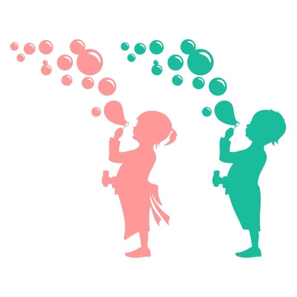 Baby Girl and Boy Blowing Bubbles Cuttable Design Cut File ...