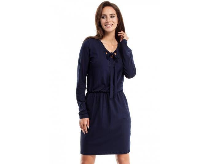 Clea Viskose-Kleid mit Bindung am Ausschnitt ,Farbe: Marineblau ...