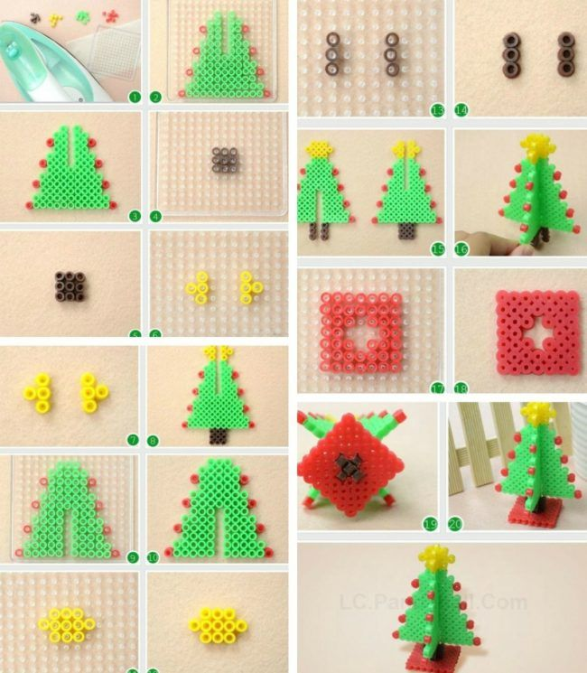 basteln buegelperlen 3d weihnachtsbaum anleitung gruen gelb stern basteln christmas perler. Black Bedroom Furniture Sets. Home Design Ideas