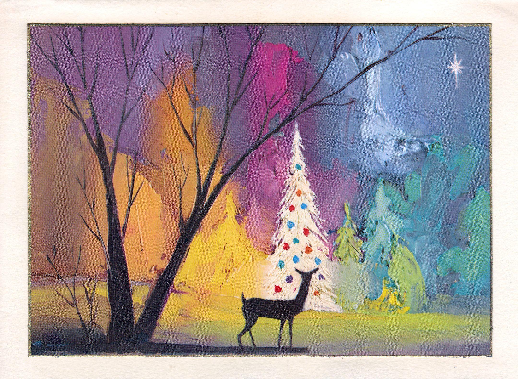 Retro Christmas Card Deer With Tree At Night Retro Christmas