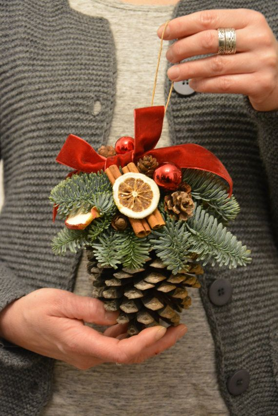 large pine cone fresh spruce christmas flowerinasdecor etsy - Decorating Large Pine Cones For Christmas