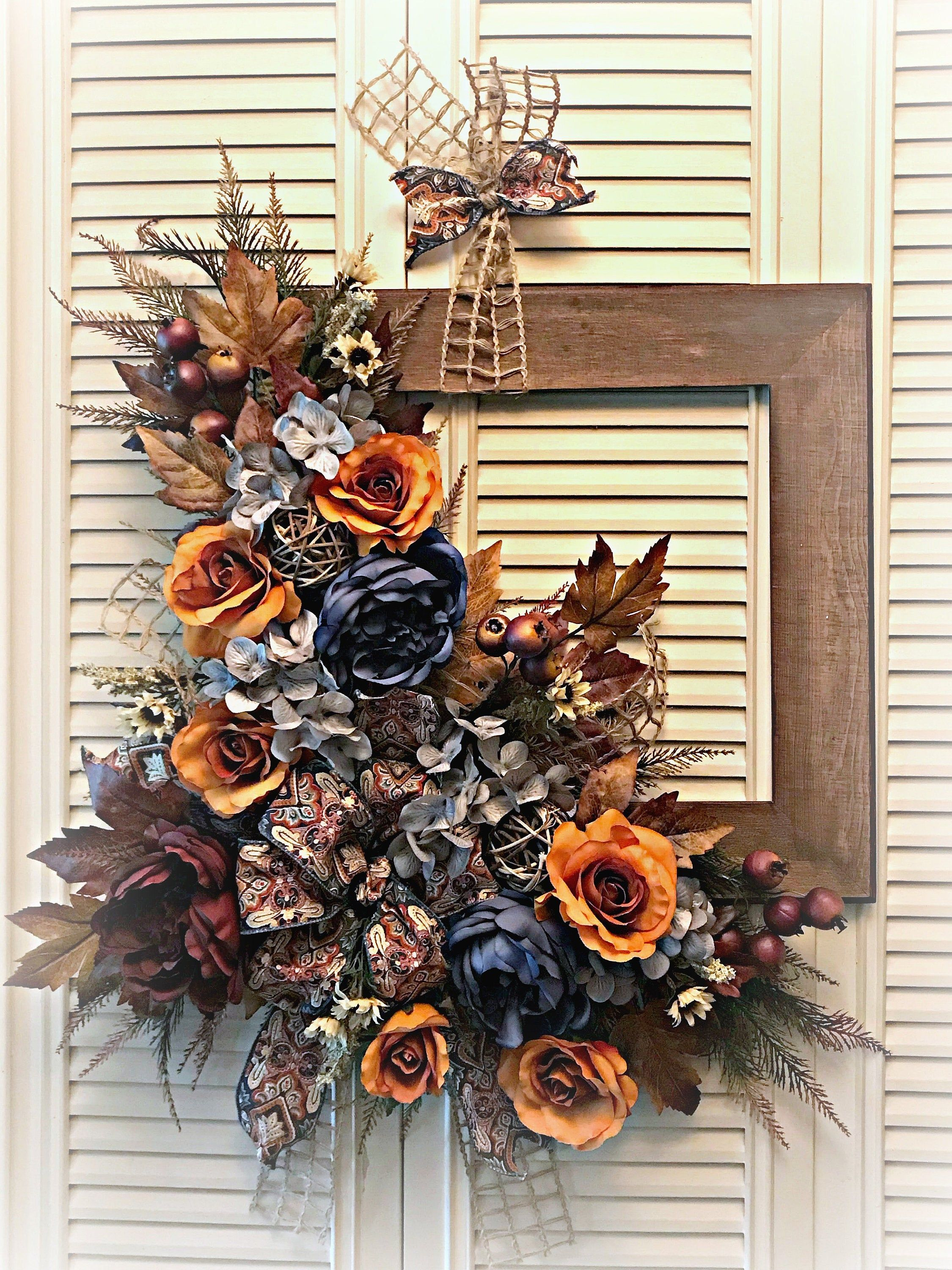 Fall Frame Wreath Early Fall Wreath Rustic Autumn Door Hanger Late Summer Wreath Fall Door Decoration H Fall Door Decorations Fall Wall Decor Frame Wreath