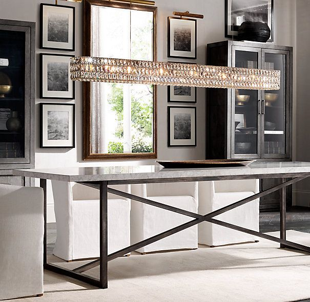 Torano Marble Rectangular Dining Table Linear Chandelier