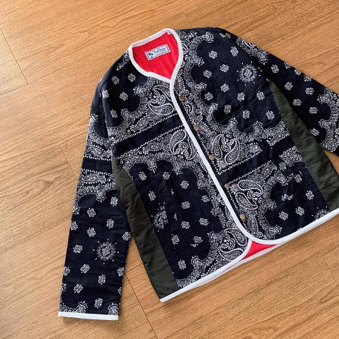 Tropicthundervintage Navy Bandana Liner Jacket Fashion Jackets Bomber Jacket [ 1080 x 1080 Pixel ]