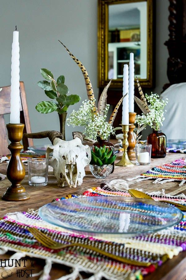 Boho Table Setting Dollar Store Decorating for Fall is part of Home Accessories Decor Awesome - Boho table setting  Yes you can get awesome Boho décor on the cheap  Look at this cute table full of dollar store fall decorating accessories