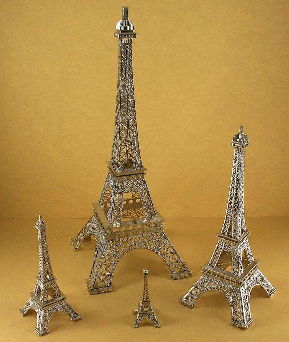 Silver Eiffel Tower Paris France Metal Stand Model For Table Etsy Eiffel Tower Eiffel Paris Decor Bedroom