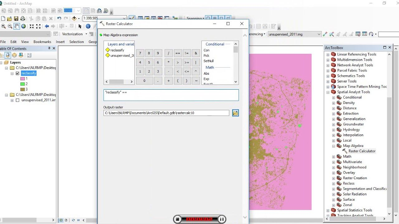 ESRI ArcGIS: Raster Calculator Extract Urban from Classified Image