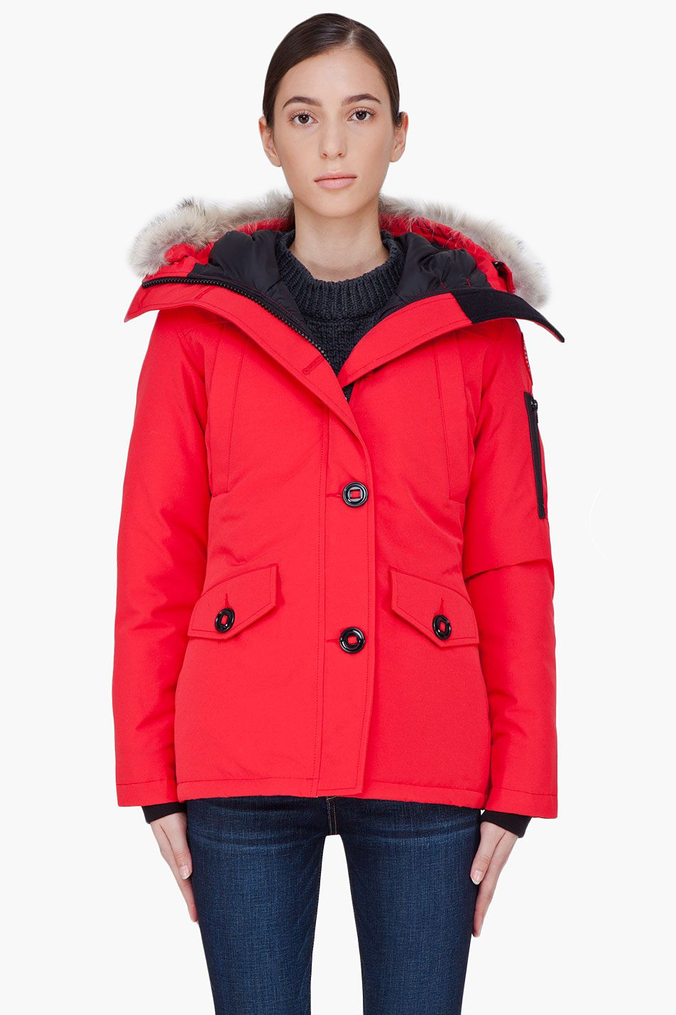 Canada Goose Red Fur Trim Montebello Parka Canada Goose Red Fur Trim Montebello Parka Canada Goose Padded Red Fur Online Womens Boutique Canada Goose Parka