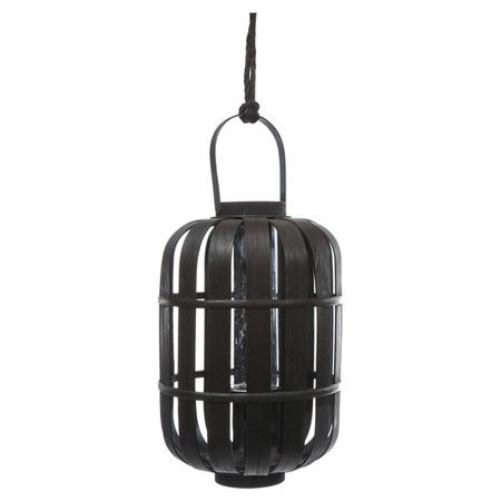 For the patio. Asian-inspired wood lantern with rope accent.Product: LanternConstruction Material: Wood and glassColor: