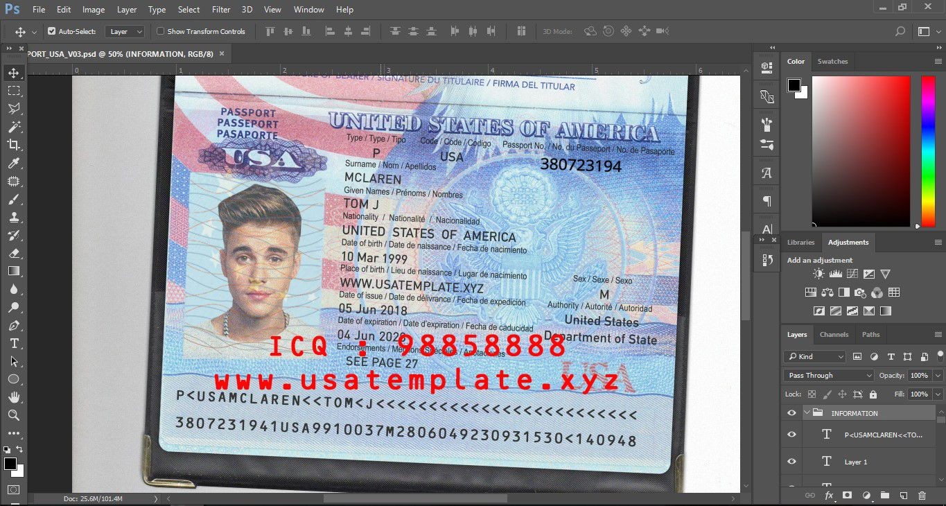 PSD TEMPLATE USA, UK,EU,CA,AU,ASIA:USA PASSPORT TEMPLATE PSD V.3.0 ...