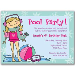 Winter Pool Party Invitations Girls Birthday Swimming As 3rd Invite Wording