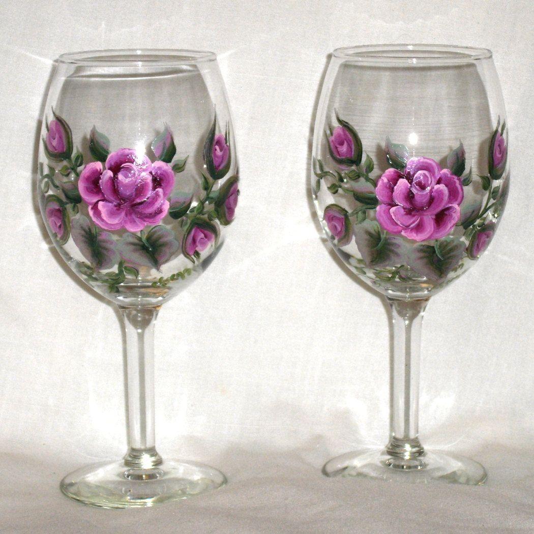 Sold per each Dusty Rose 10 oz Wine Glasses Hand by cfaskesenn, via Etsy.  Love the design!!!