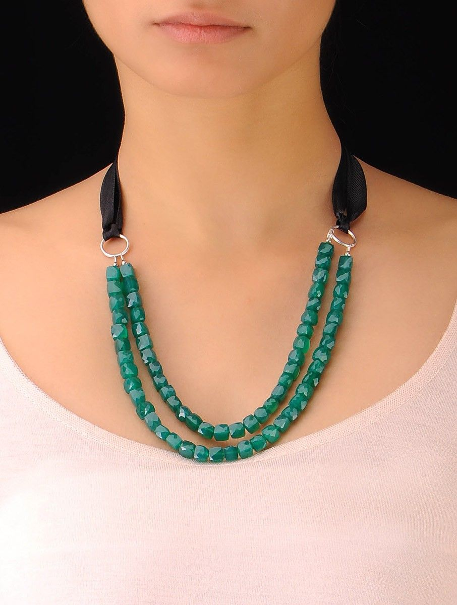 Photo of Buy Green Onyx Beaded Silver Necklace Online at Jaypore.com