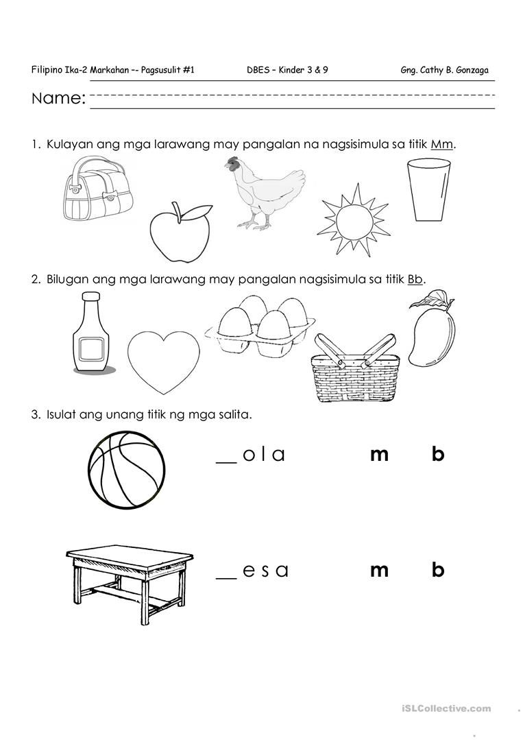 Worksheets In Filipino For Kindergarten 1217651 Myscres Free