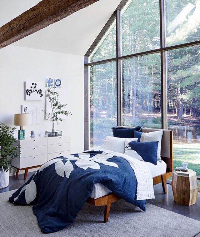 Color White, Blue Bed Queen H bedroom Pinterest Blue bed