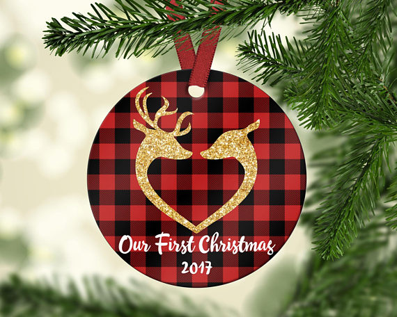 Our First Christmas Ornament Deer Couple Ornament Newly Wed Gift Wedding Gift Christmas Gift Persona Custom Christmas Ornaments Our First Christmas Ornament First Christmas Ornament