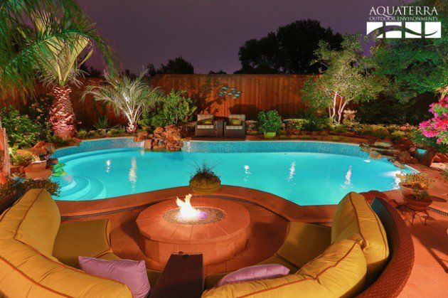 20 Sophisticated Outdoor Fire Pit Designs Near The Swimming Pool Backyard Pool Outdoor Fire Outdoor Fire Pit