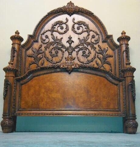 Queen Bed French Provincial Rococo Solid Wood Ornate Regency ...