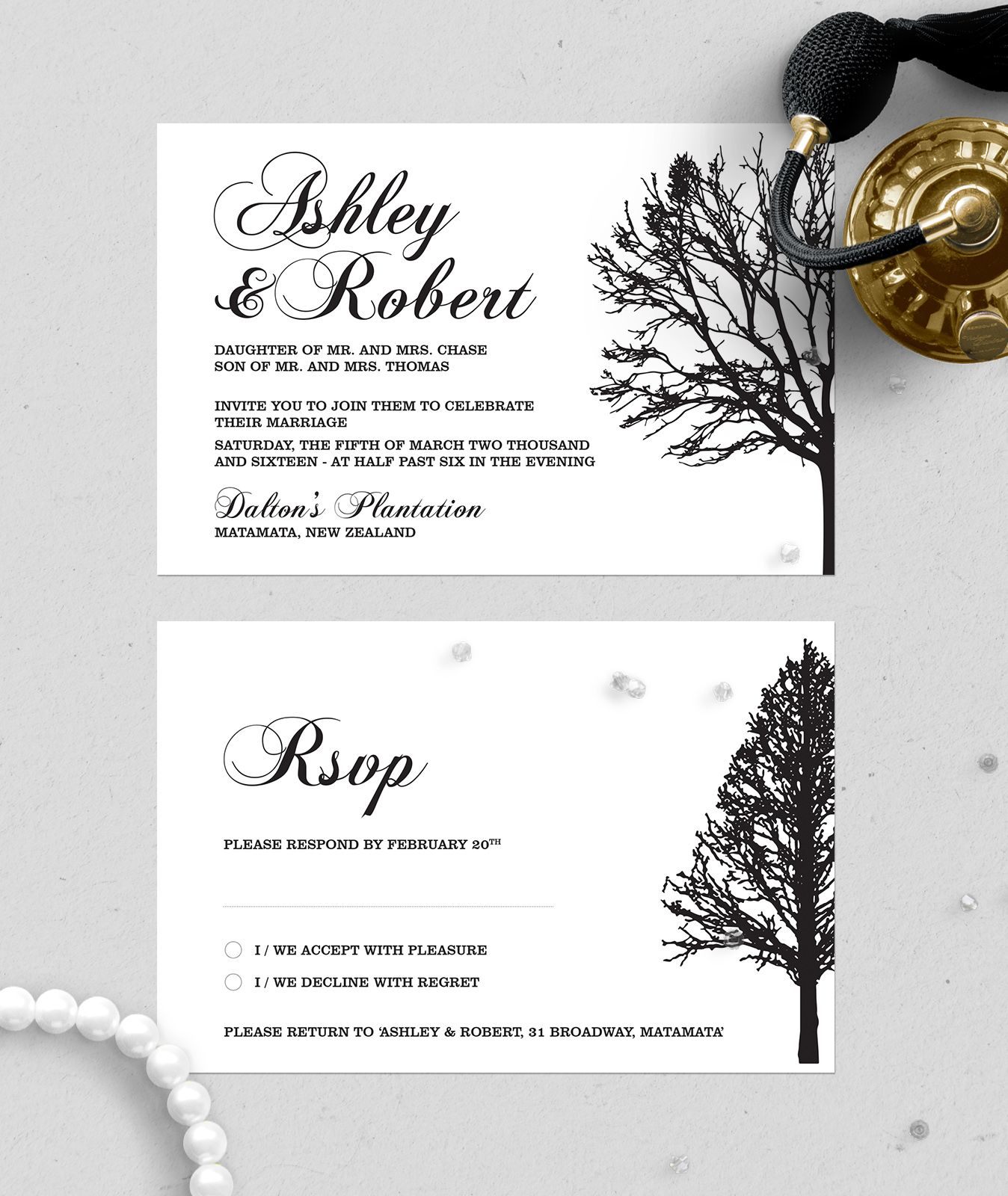 Formal black and white invitation set wedding u engagement