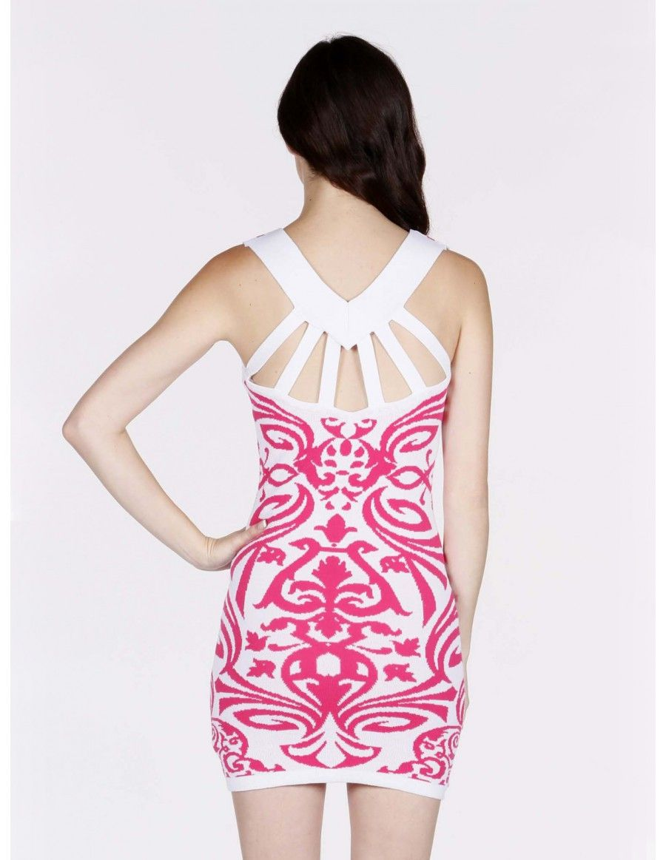 Vestido Ajustado Corto Blanco y Rosa MS821 - Vestidos | Vestidos del ...
