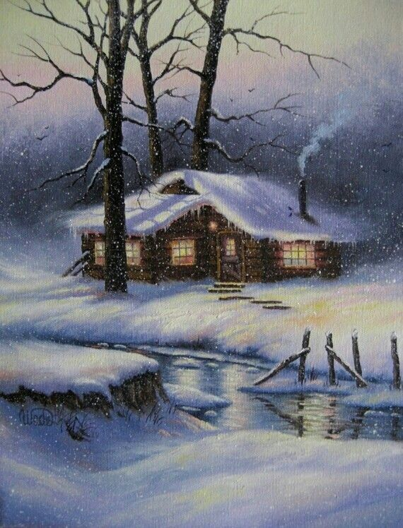 Cabin In The Woods Painting Snow Winter Landscape Winter Painting