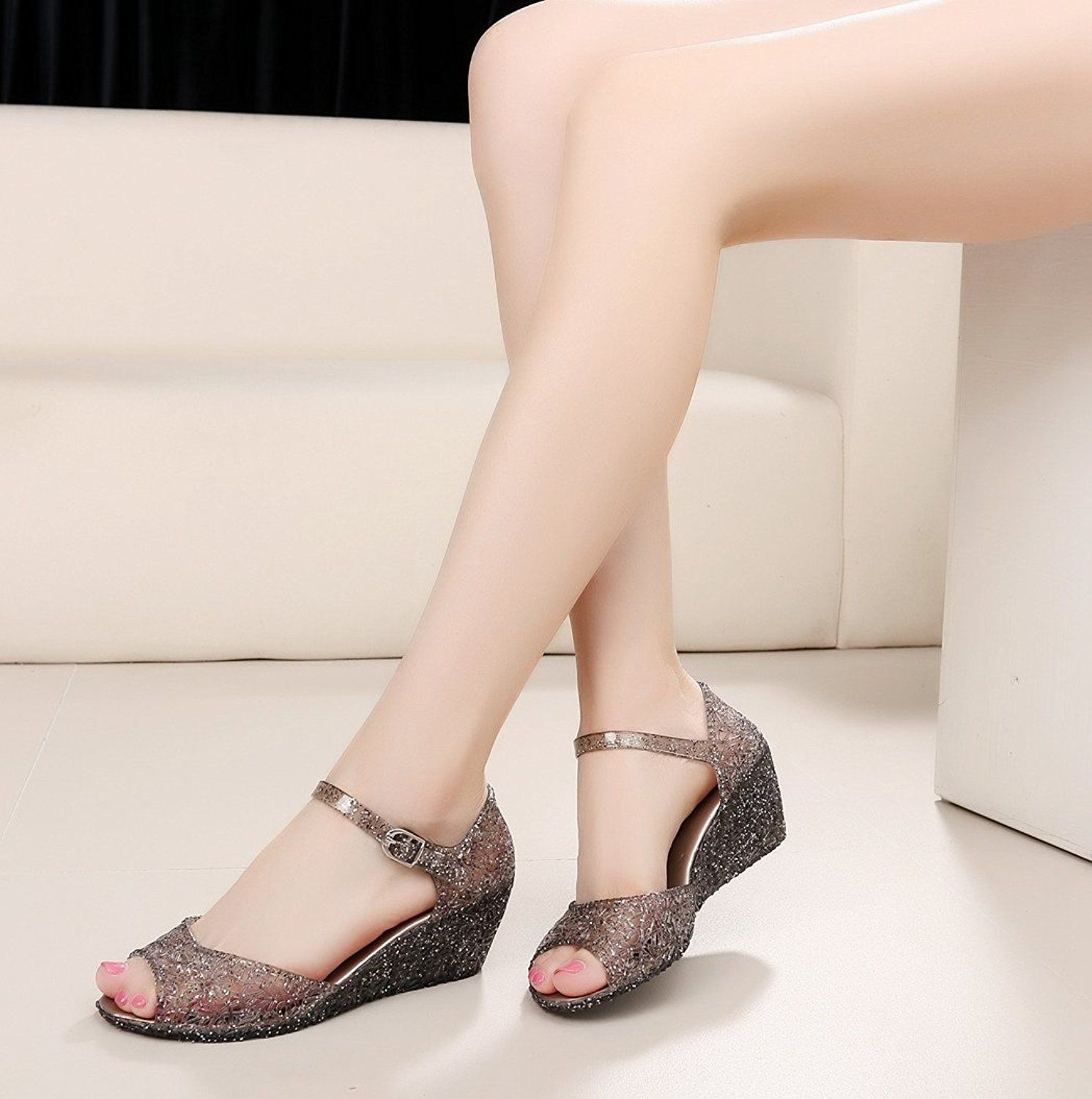 889fa1ce0fb3 AlwaysU Womens Ladies Wedge Sandals Peep Toe Ankle Strap Low Heel Summer  Glitter Jelly Shoes Platform   Click image to review more details.