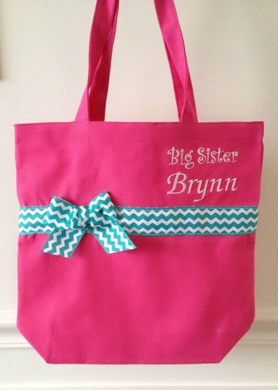 Hey, I found this really awesome Etsy listing at https://www.etsy.com/listing/191209909/big-sister-monogrammed-tote-bag