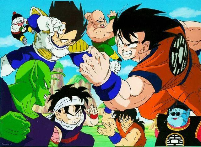 Vegeta Goku Piccolo Gohan Tien Krillin Chiaotzu Yamcha And King Kai The Saiyan Saga Anime Dragon Ball Z Dragon Ball
