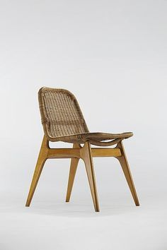 Joseph Andre Motte Wood and Rattan Chair for Charron 1953