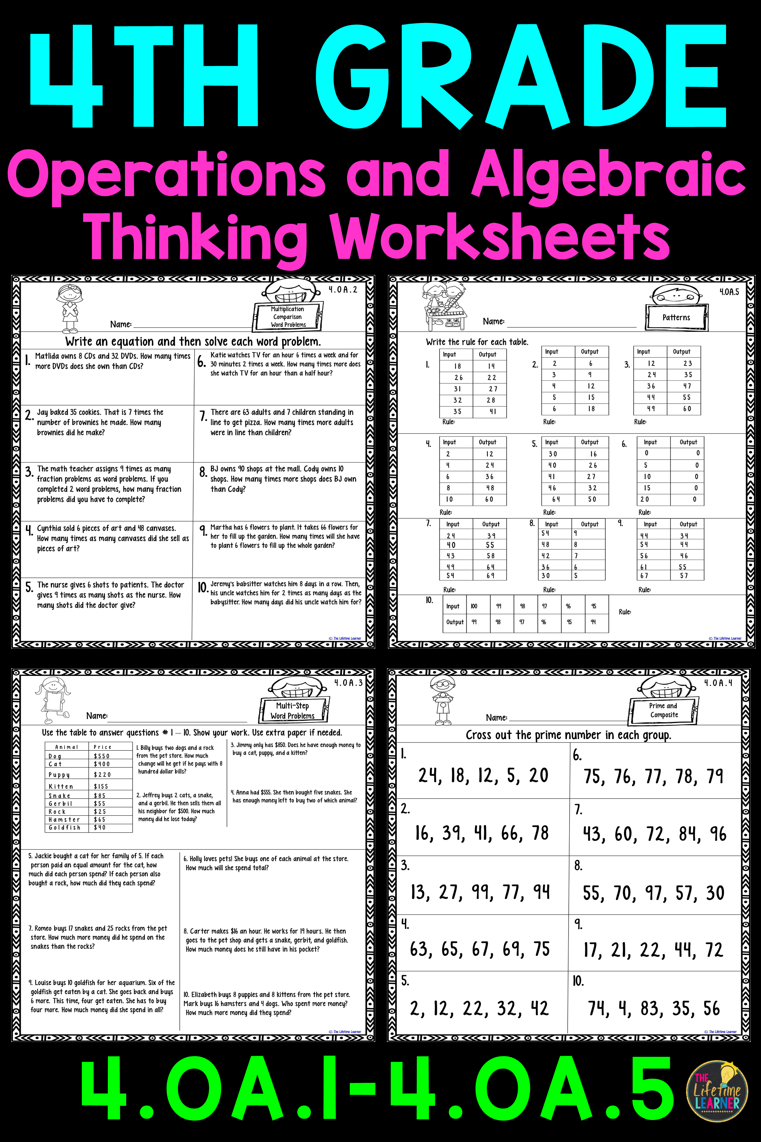 These operations and algebraic thinking worksheets are perfect for 4th  graders. Th…   Common core math worksheets [ 3684 x 2456 Pixel ]