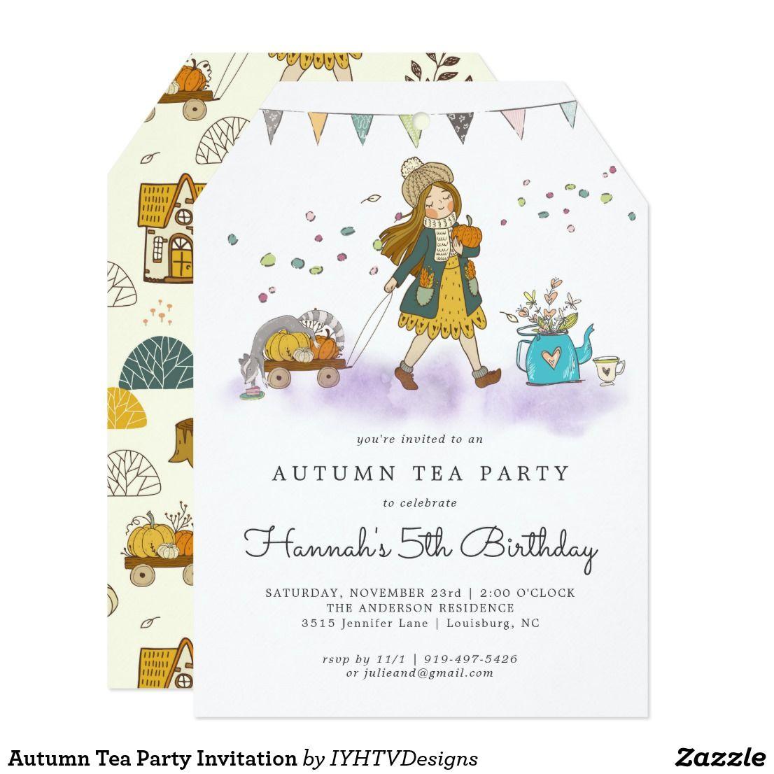 autumn tea party invitation  zazzle  tea party